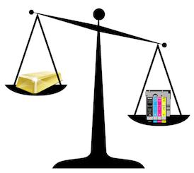 Weegschaal goud en inkt
